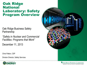 Oak Ridge National Laboratory: Safety Program Overview