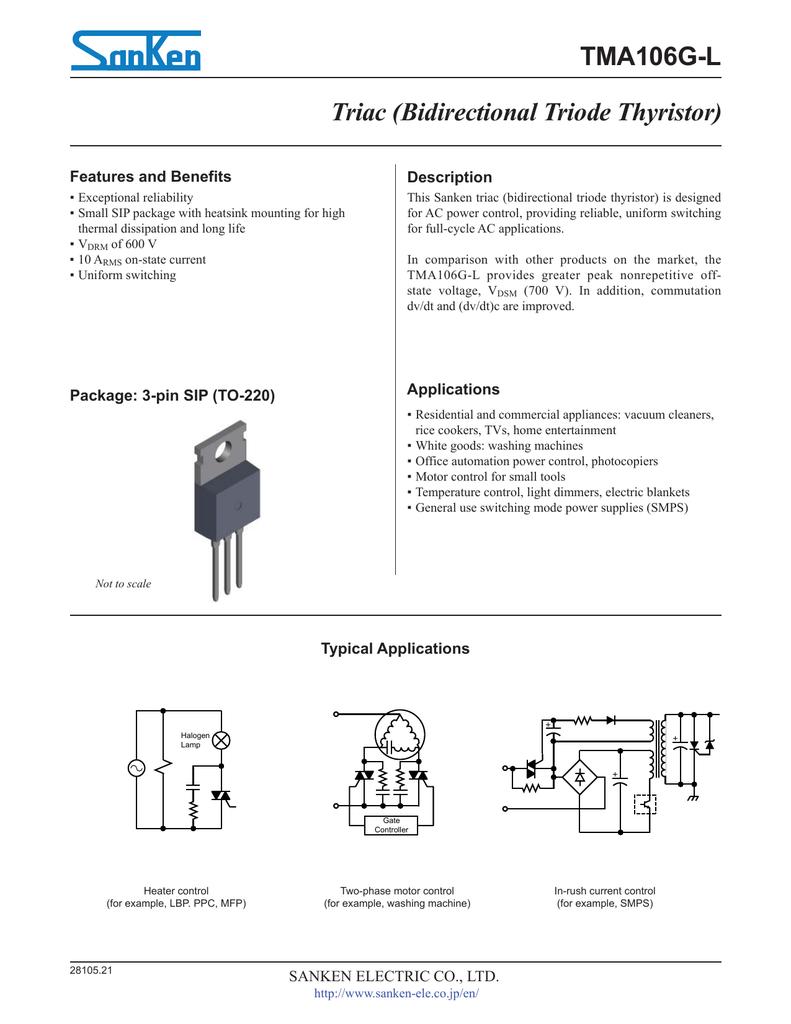 Tma106g L Triac Bidirectional Triode Thyristor Scr High Power Alarm Driver Circuit Design