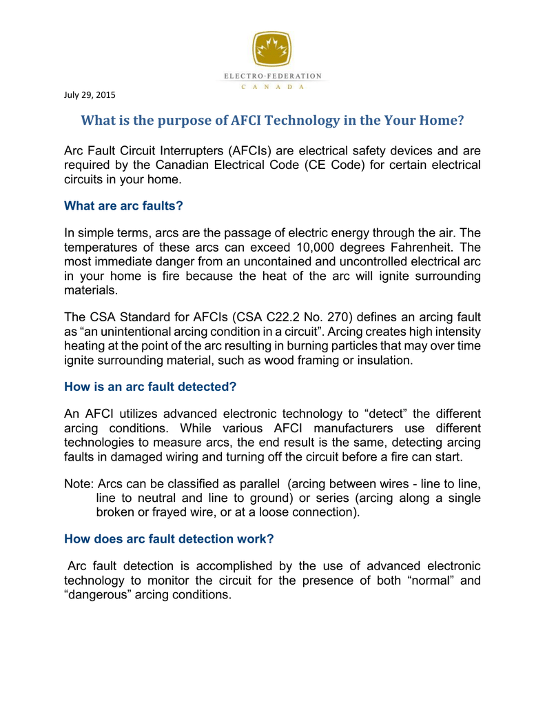 What Is The Purpose Of Afci Technology In Your Home Fact Sheet An Arc Fault Circuit Interrupter