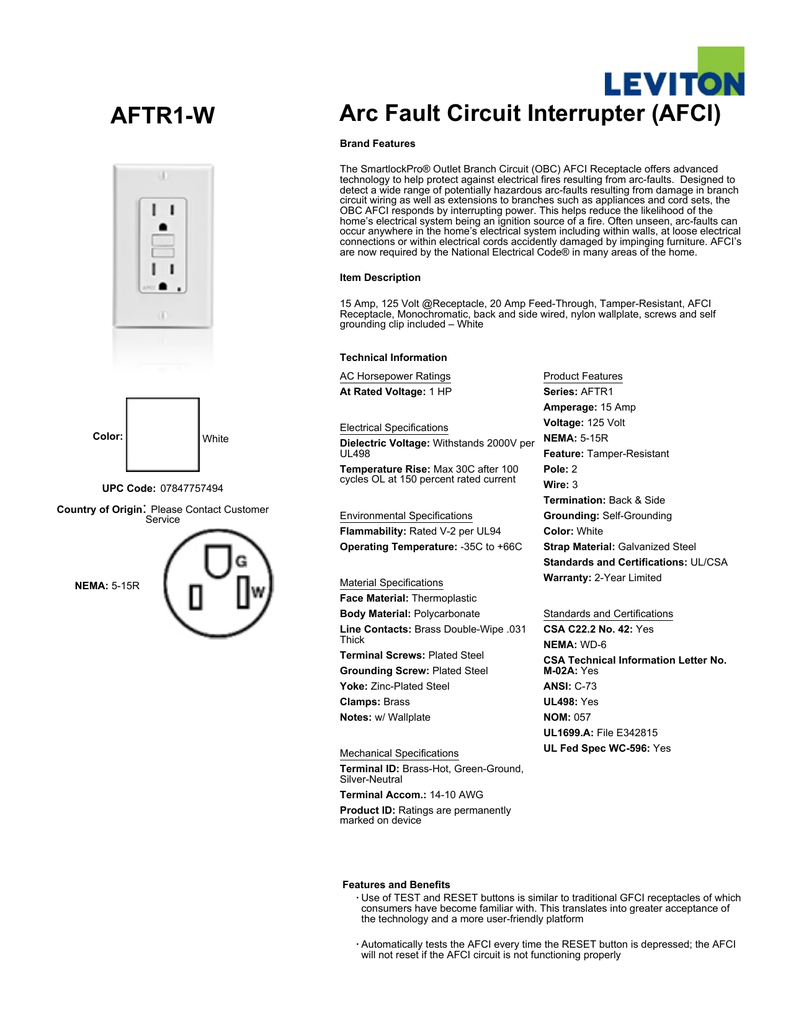 Leviton Aftr1 W Arc Fault Circuit Interrupter Receptacle Spec Sheet Breaker Wiring Diagram On Multiple Lights To