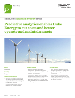 Predictive analytics enables duke Energy to cut costs and better
