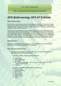 APA Referencing: APA 6th Edition - Auckland University of Technology