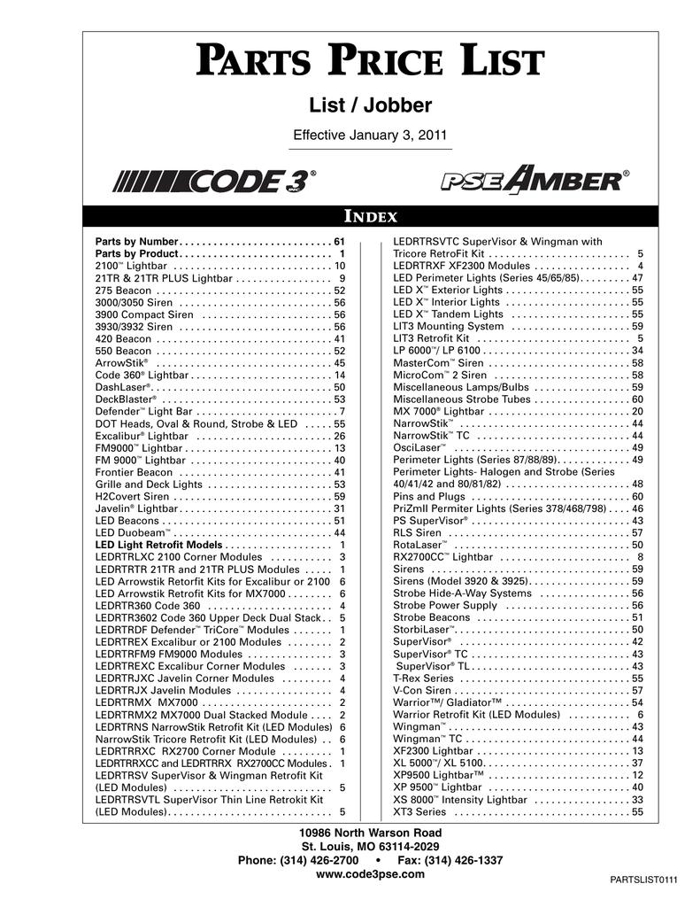 parts price list