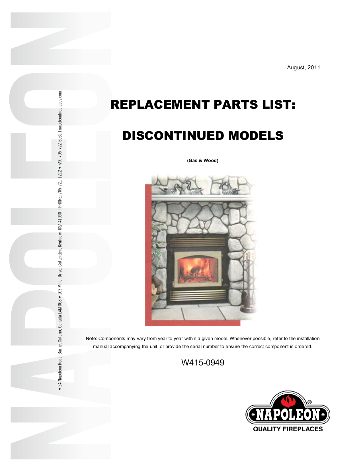 replacement parts list: discontinued models on