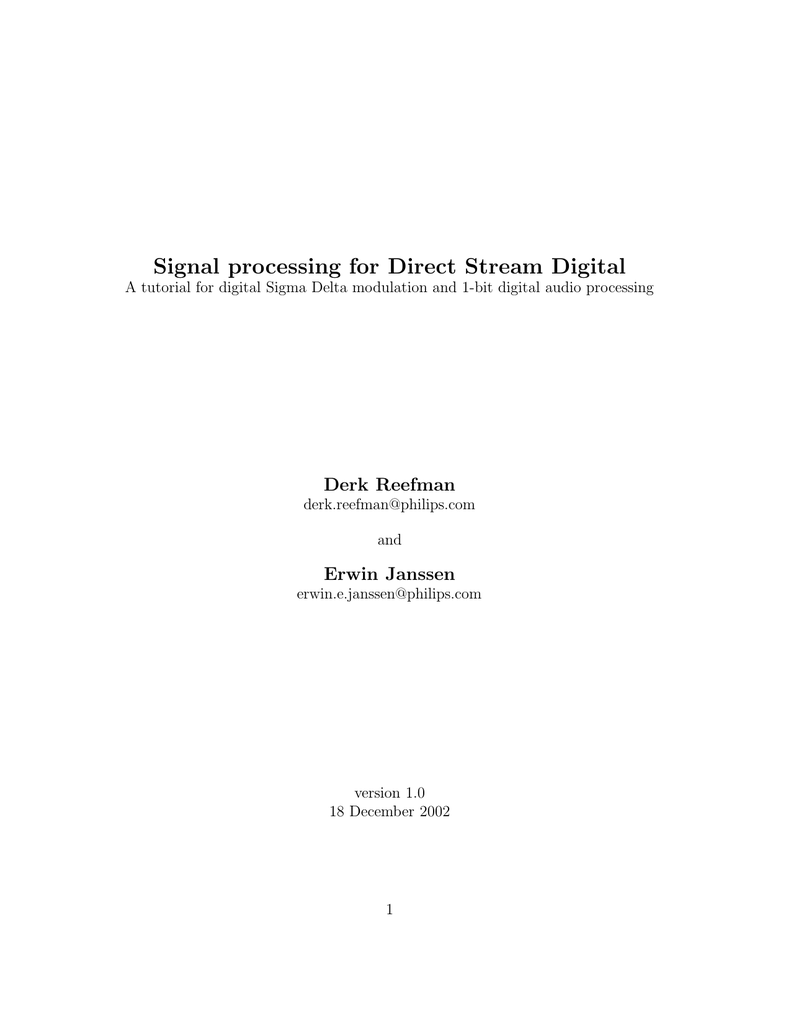 Signal processing for Direct Stream Digital