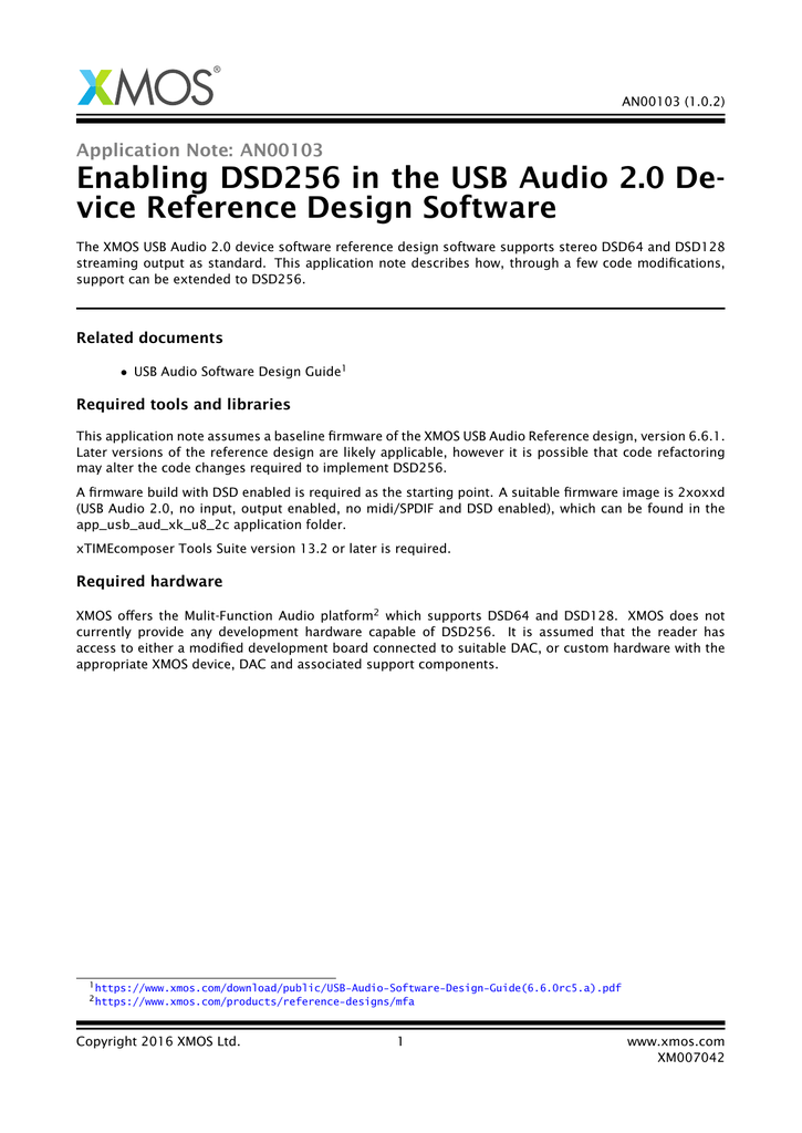 Enabling DSD256 in the USB Audio 2 0 De- vice Reference