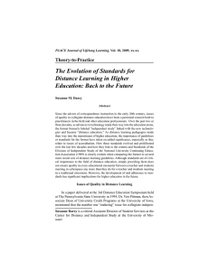 The Evolution of Standards for Distance Learning in Higher Education