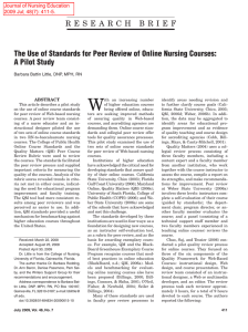 The Use of Standards for Peer Review of Online Nursing Courses: A