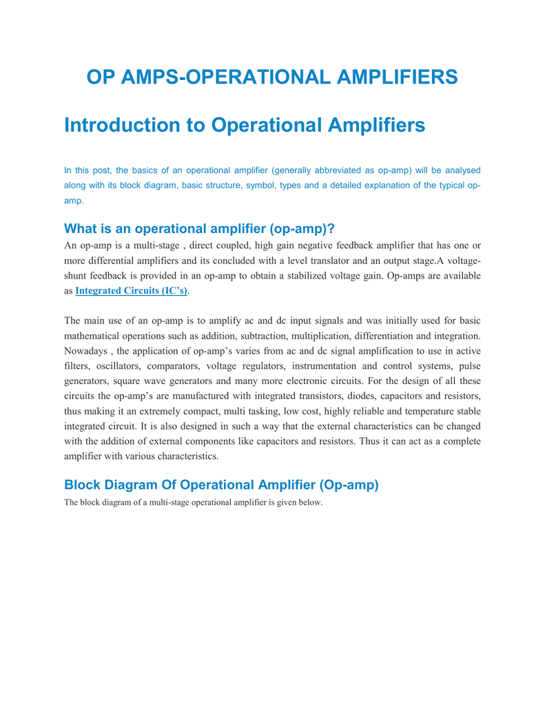 Op Amps Operational Amplifiers Introduction To Operational
