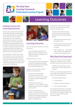 Learning Outcomes - Early Childhood Australia