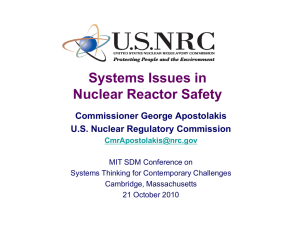 Systems Issues in Nuclear Reactor Safety