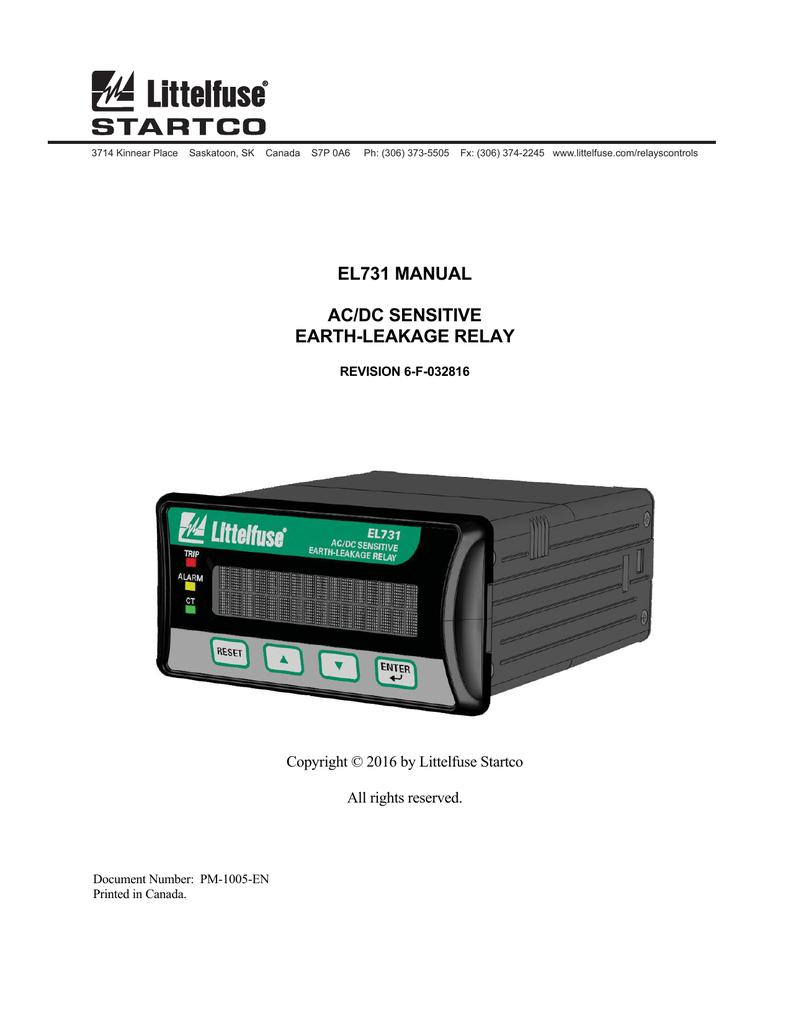El731 Acdc Sensitive Earth Leakage Relay Manual Rev 6 F Wiring Diagram