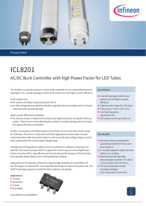 ICL8201 ACDC Buck Controller with high Power Factor for LED