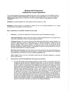 McGraw-Hill Professional Institutional License Agreement