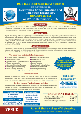 IEEE ICAECCT-16 Brochure - International Relation Office