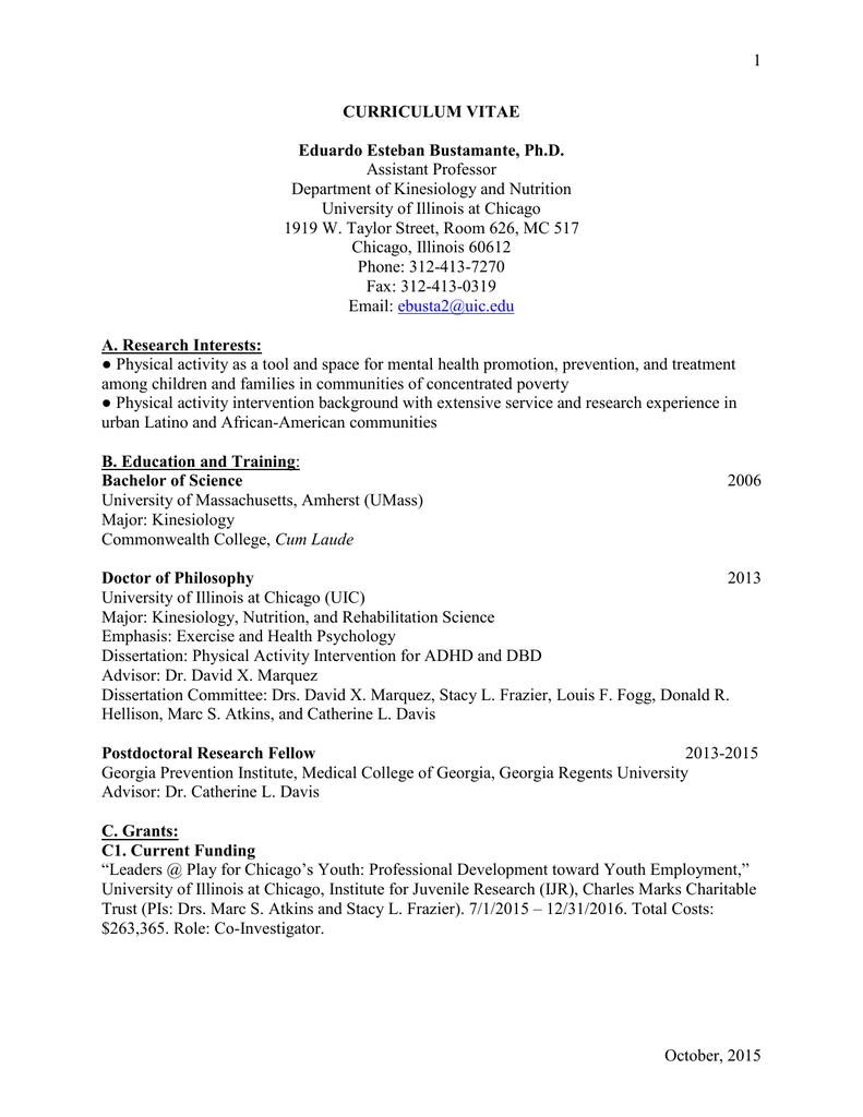 CV - Applied Health Sciences