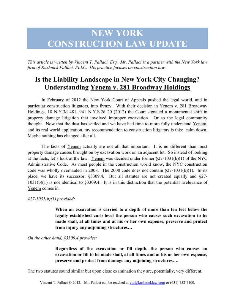 New York Construction Law Update