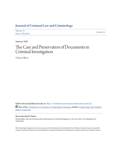 The Care and Preservation of Documents in Criminal Investigation