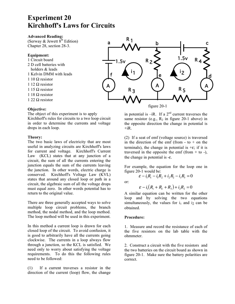 Experiment 20 Kirchhoff`s Laws for Circuits