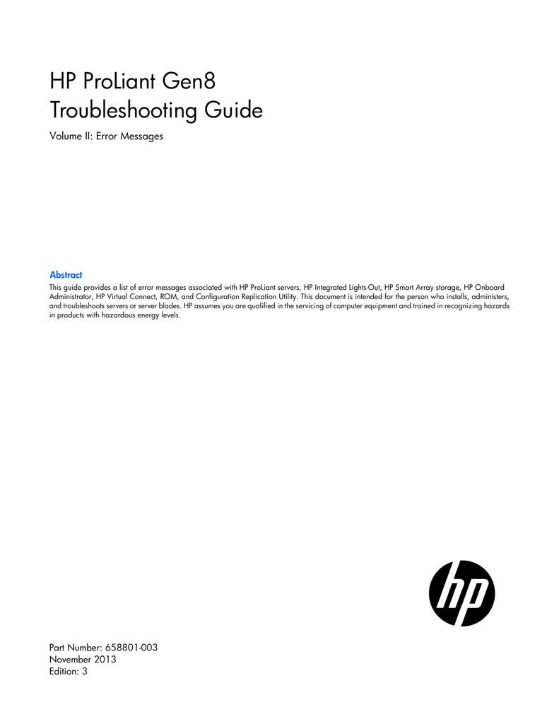 HP ProLiant Gen8 Troubleshooting Guide