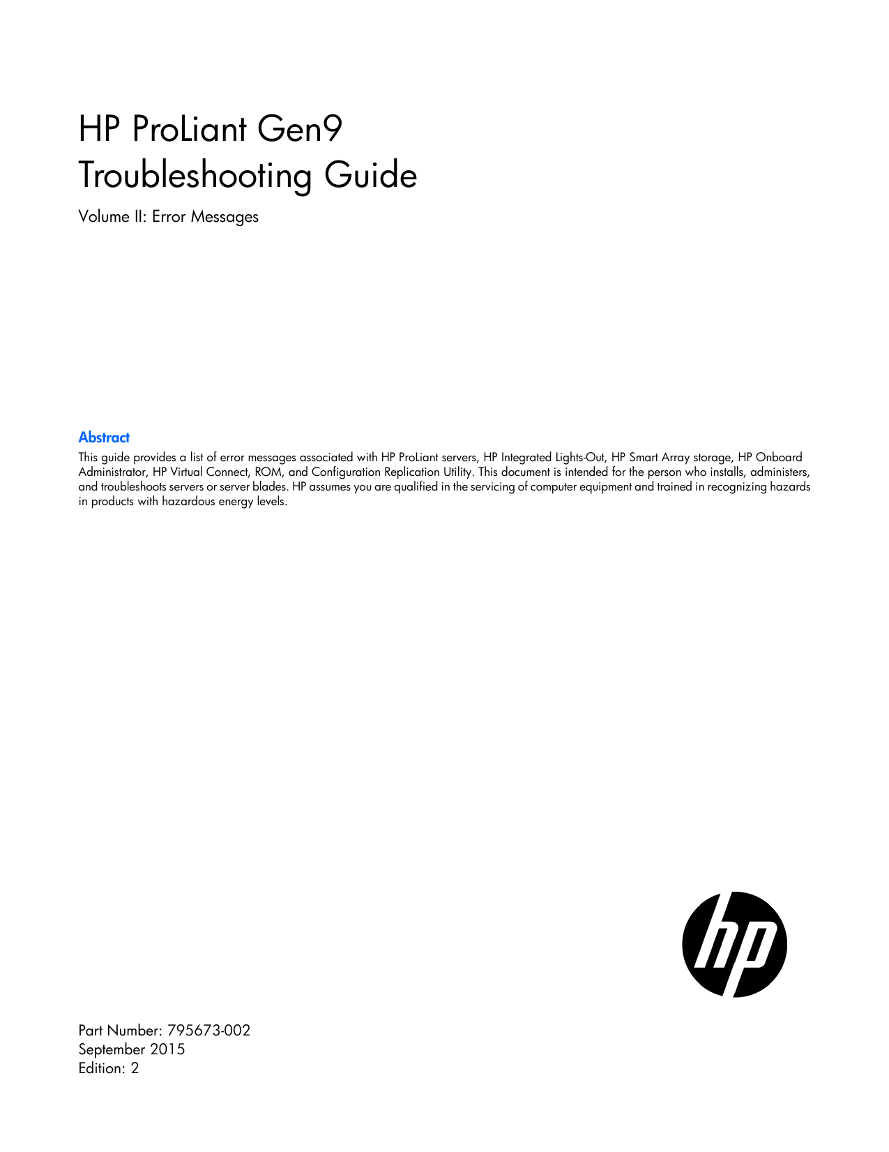 HPE ProLiant Gen9 Troubleshooting Guide Volume II