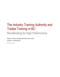 The Industry Training Authority and Trades Training in BC