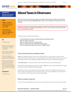About Taxes in Dinerware
