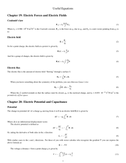 Useful Equations Chapter 19: Electric Forces and Electric Fields