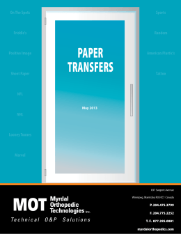 paper transfers - Myrdal Orthopedic Technologies