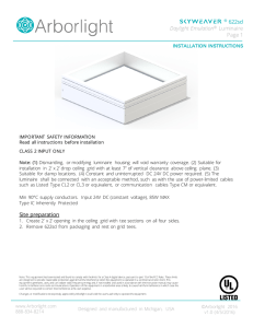 Site preparation ® 622sd Daylight Emulation® Luminaire Page 1