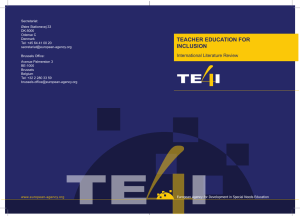 Teacher Education for Inclusion – Literature Review