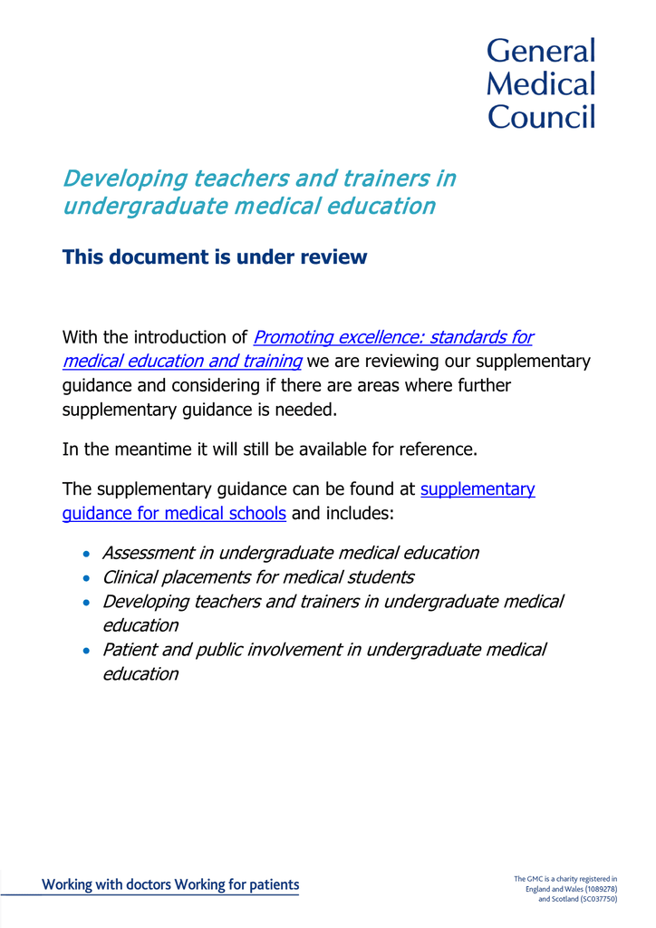 Developing Teachers And Trainers In Undergraduate Medical Education