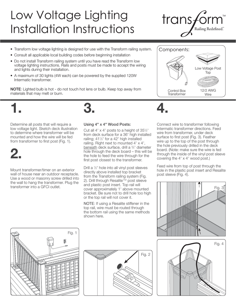 Low Voltage Lighting Installation Instructions