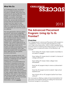 The Advanced Placement Program: Living Up to Its Promise? PDF