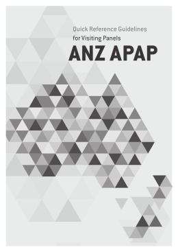 ANZ APAP Quick Reference Guidelines