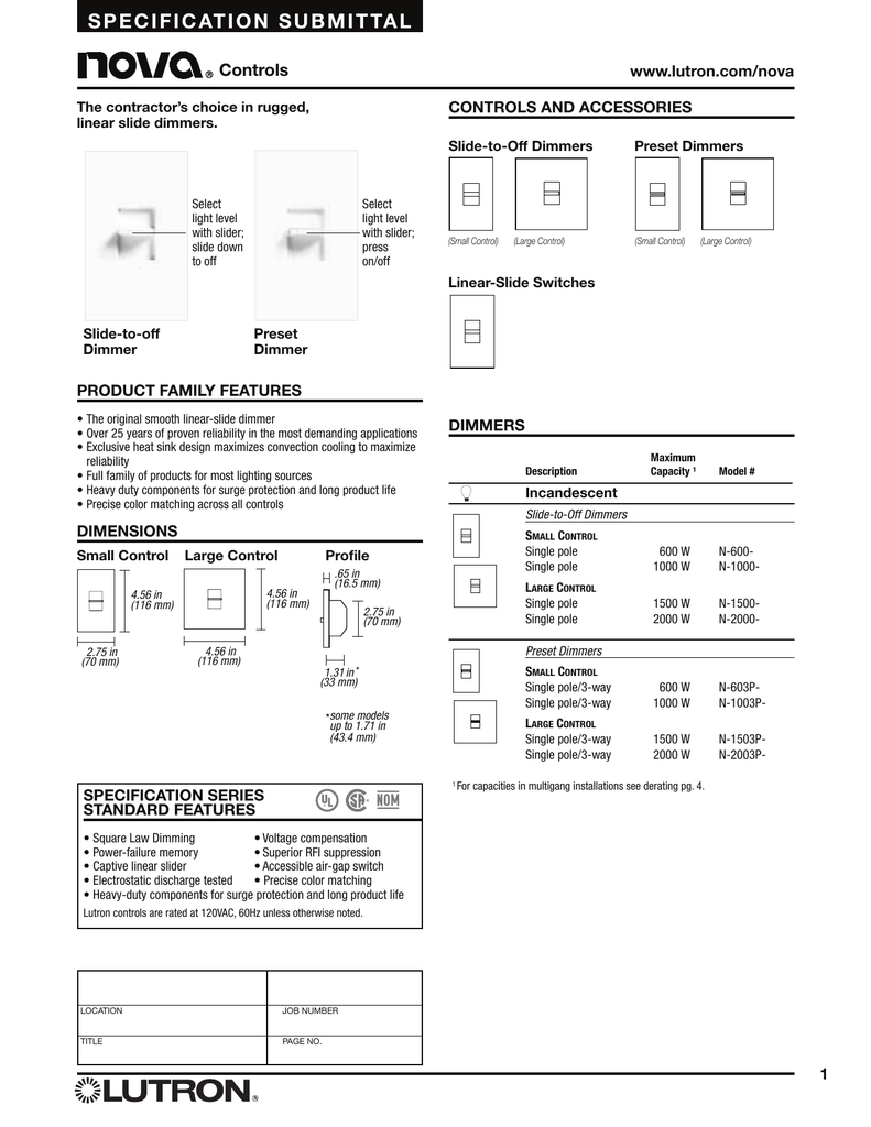 Lutron Nf 10 Wiring Diagram Circuit Schematic Double Switch Occupancy Nova N 600 Br Dimmer Spec Sheet 3 Way