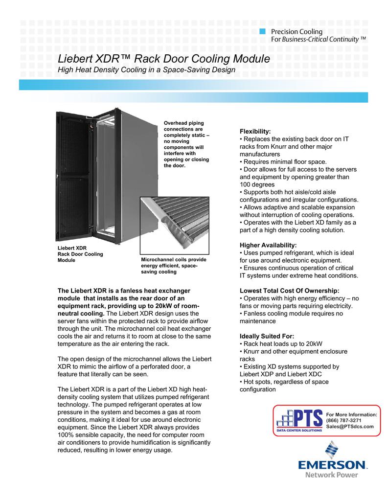 Liebert XDR™ Rack Door Cooling Module ebe t ac oo