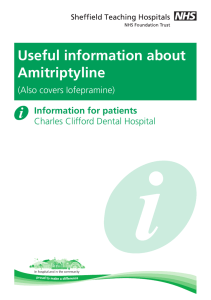 Useful information about Amitriptyline (also covers Iofepramine)