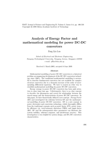 Analysis of Energy Factor and mathematical modeling for power DC