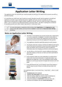 Application Letter Writing - QUT Careers and Employment