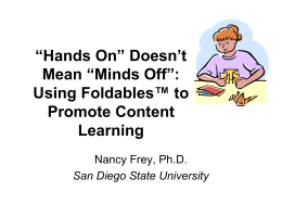 """Hands On"" Doesn`t Mean ""Minds Off"": Using"