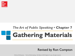 The Art of Public Speaking • Chapter 7