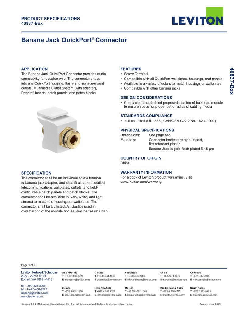 Banana Jack Quickport Connector Leviton Wiring Block 018439340 1 0efa23dba73febafb13c74d5421913c1