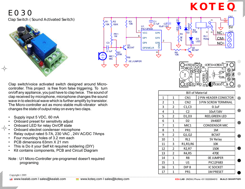 Sound Activated Relay Circuit Diagram Clap Switch Mini Project Switchvoice