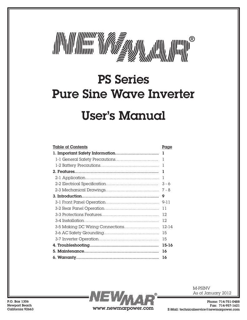 Ps Series Pure Sine Wave Inverter Users Manual Newmar Fuse Box