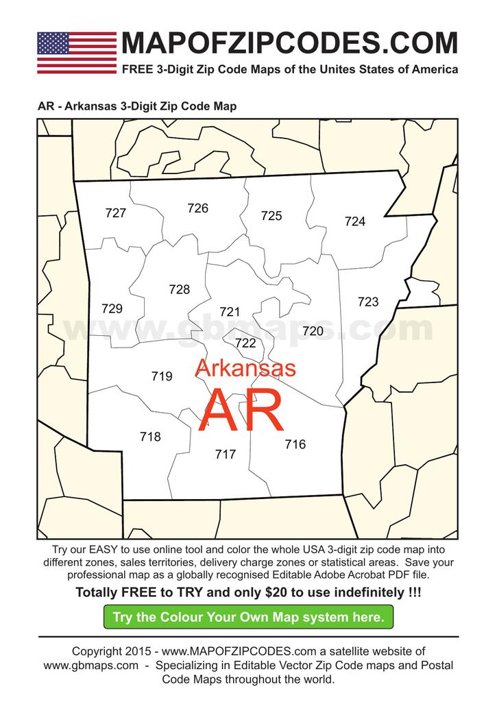 Image of: Ar Arkansas 3 Digit Zip Code Map Usa Zipcode Maps 3