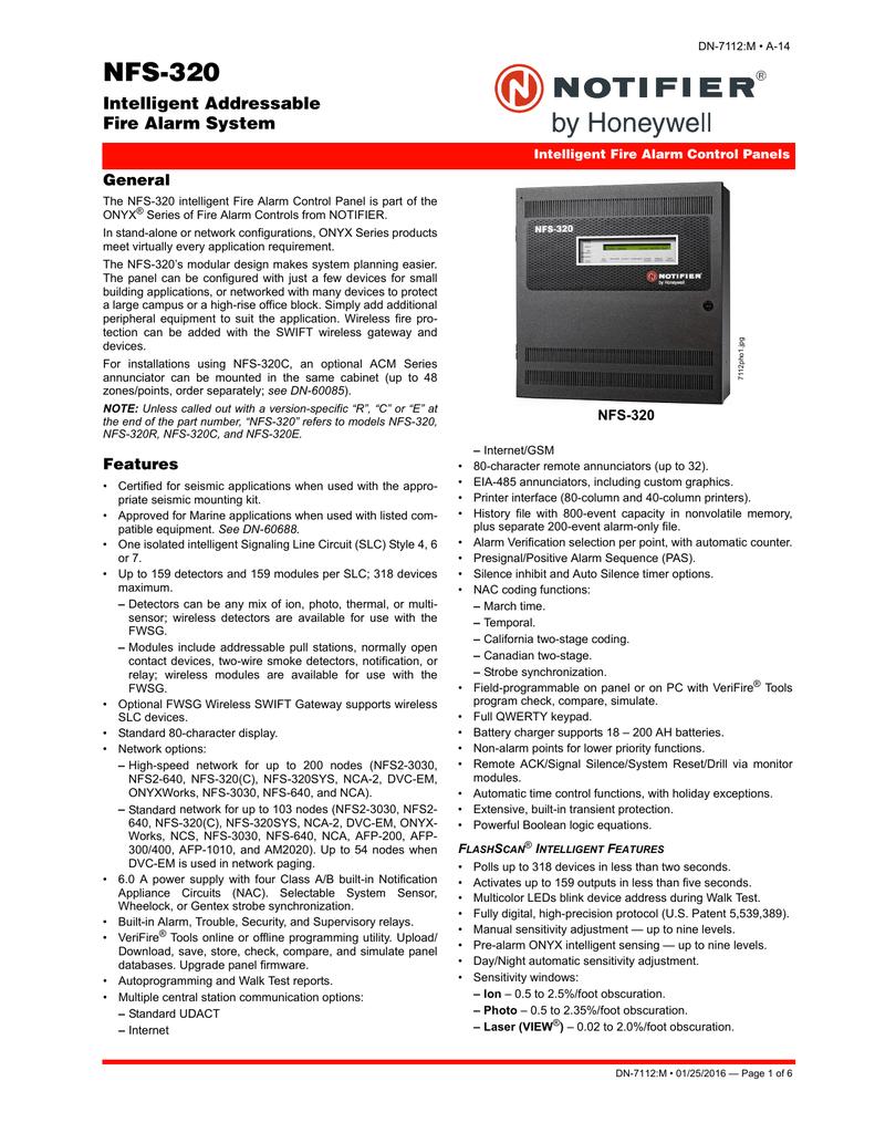 NFS-320 Intelligent Addressable Fire Alarm System