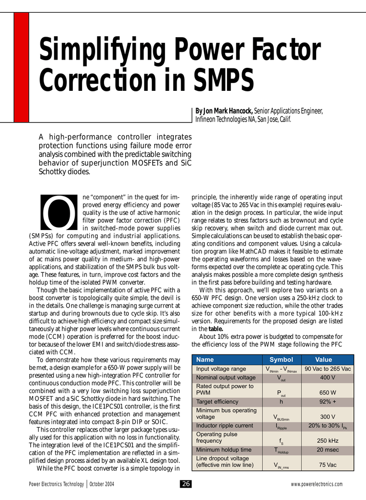 Simplifying Power Factor Correction in SMPS