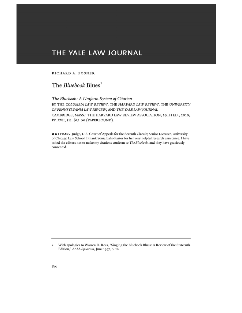 The Bluebook Blues The Yale Law Journal