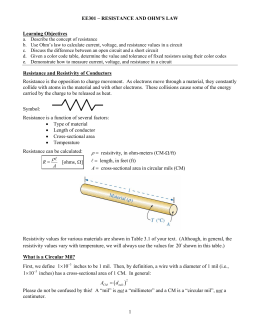 Resistance and Ohm`s Law Notes